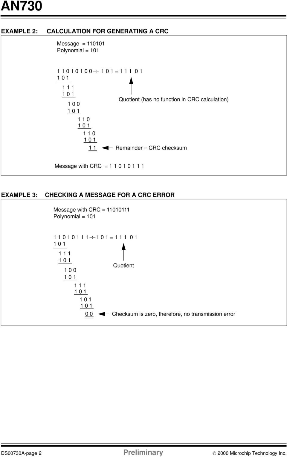 AN730  CRC Generating and Checking INTRODUCTION THEORY OF OPERATION