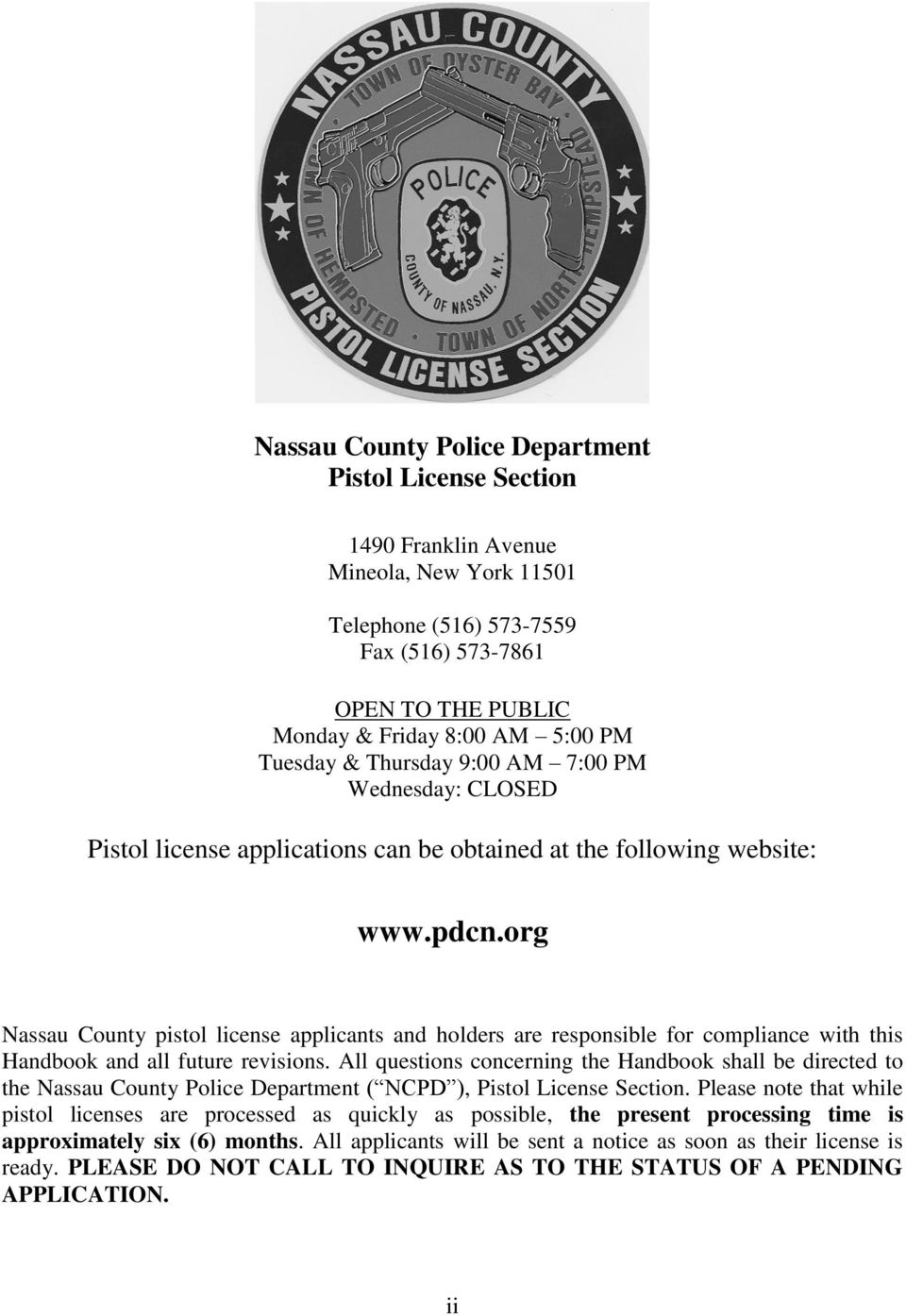 NASSAU COUNTY POLICE DEPARTMENT PISTOL LICENSE SECTION