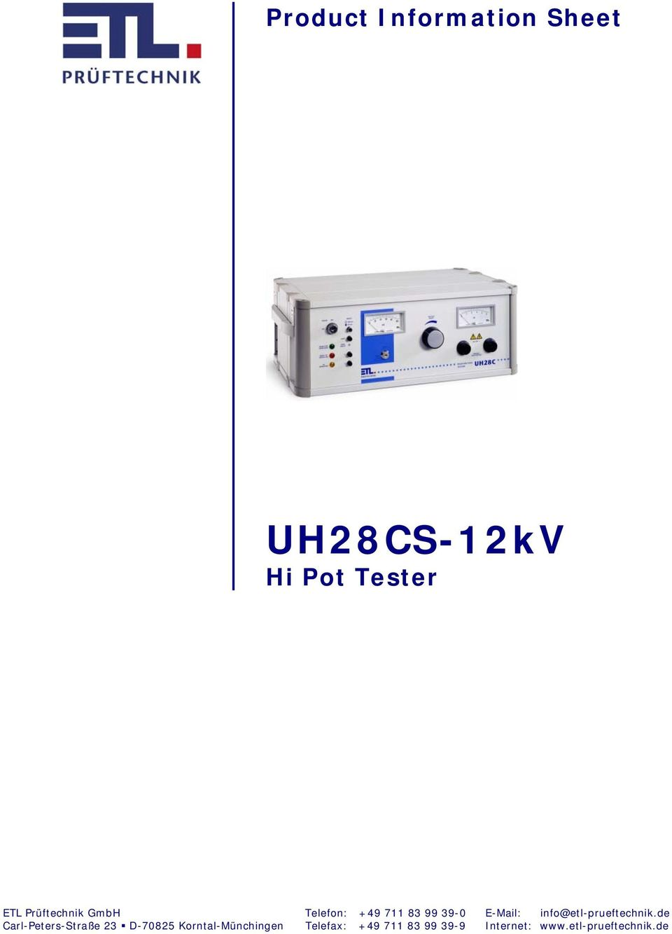 Product Information Sheet Uh28cs 12kv Hi Pot Tester Pdf Wireless Mains Voltage Transcription