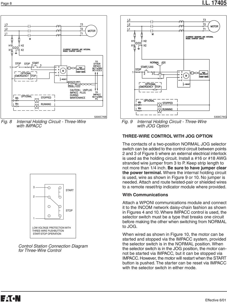 Instructions For Class W200 W201 Sizes 5 And 6 Three Phase Non Controlcircuitwiring5 Wire Control With Jog Option The Contacts Of A Two