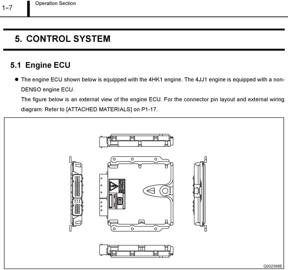 The 4JJ1 engine is equipped with a non- DENSO engine ECU.