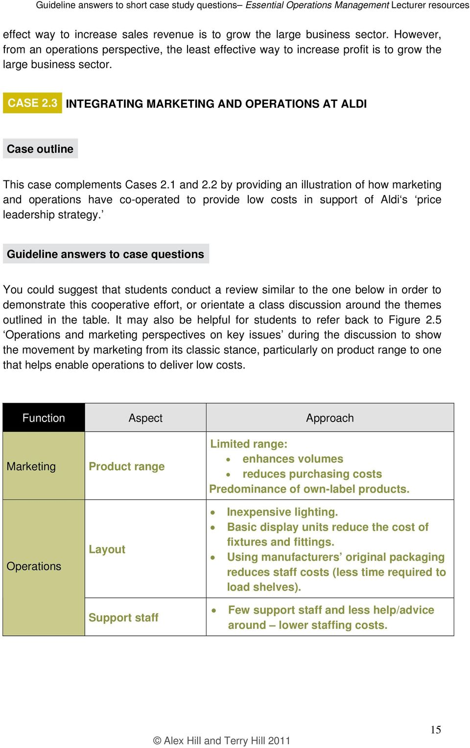 Essential Operations Management Lecturer resources  Guideline