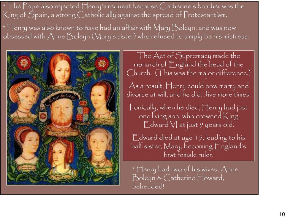 The Act of Supremacy made the monarch of England the head of the Church. (This was the major difference.) As a result, Henry could now marry and divorce at will, and he did five more times.