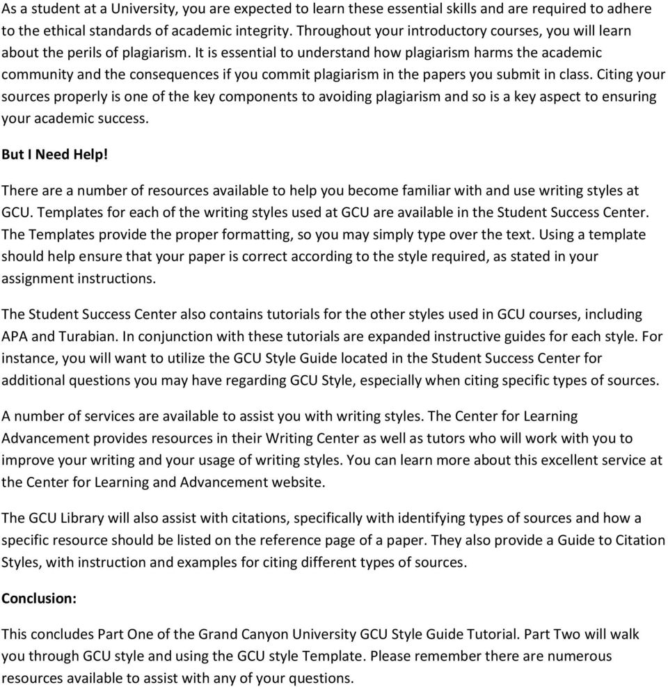 Gcu style tutorial part one introduction to writing styles pdf it is essential to understand how plagiarism harms the academic community and the consequences if you maxwellsz