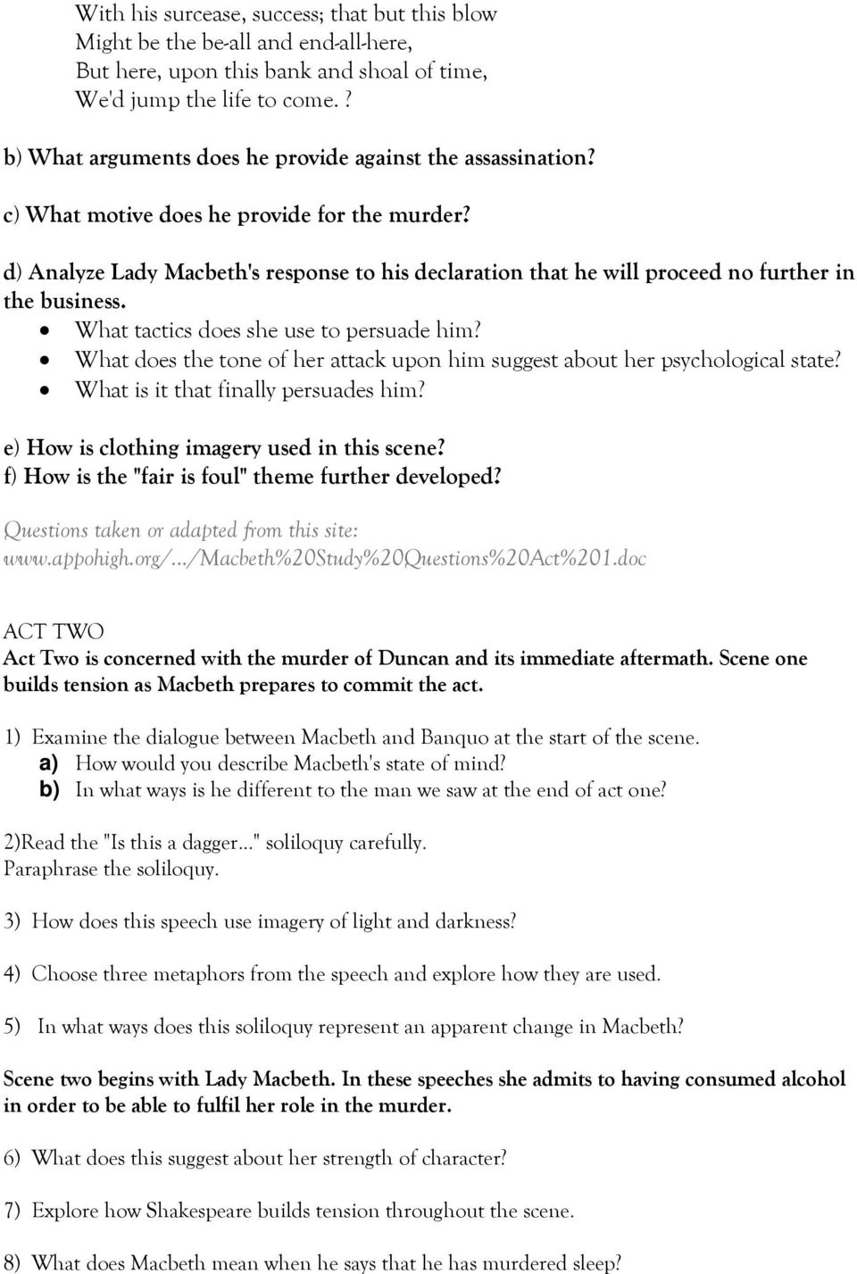 Macbeth Study Question Pdf Free Download Paraphrase I Thi A Dagger Soliloquy