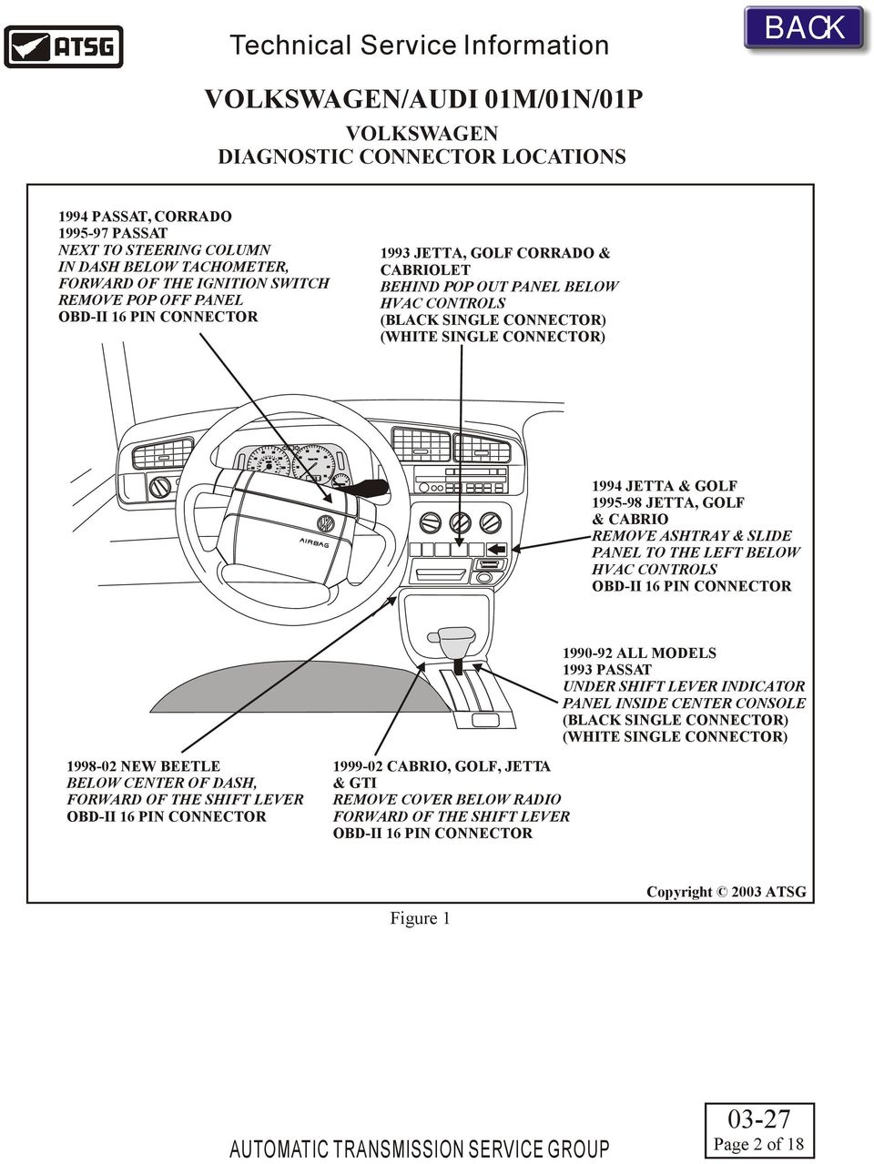 Technical Service Information Pdf Wiring Diagram For 1994 Jetta White Single Connector 0 70 Golf 1995 98