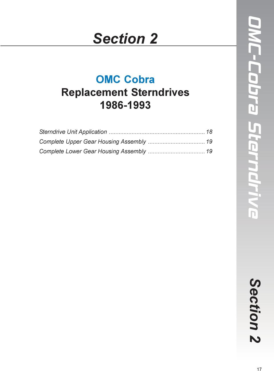 TABLE OF CONTENTS  COBRA SX STERNDRIVE OMC COBRA STERNDRIVE