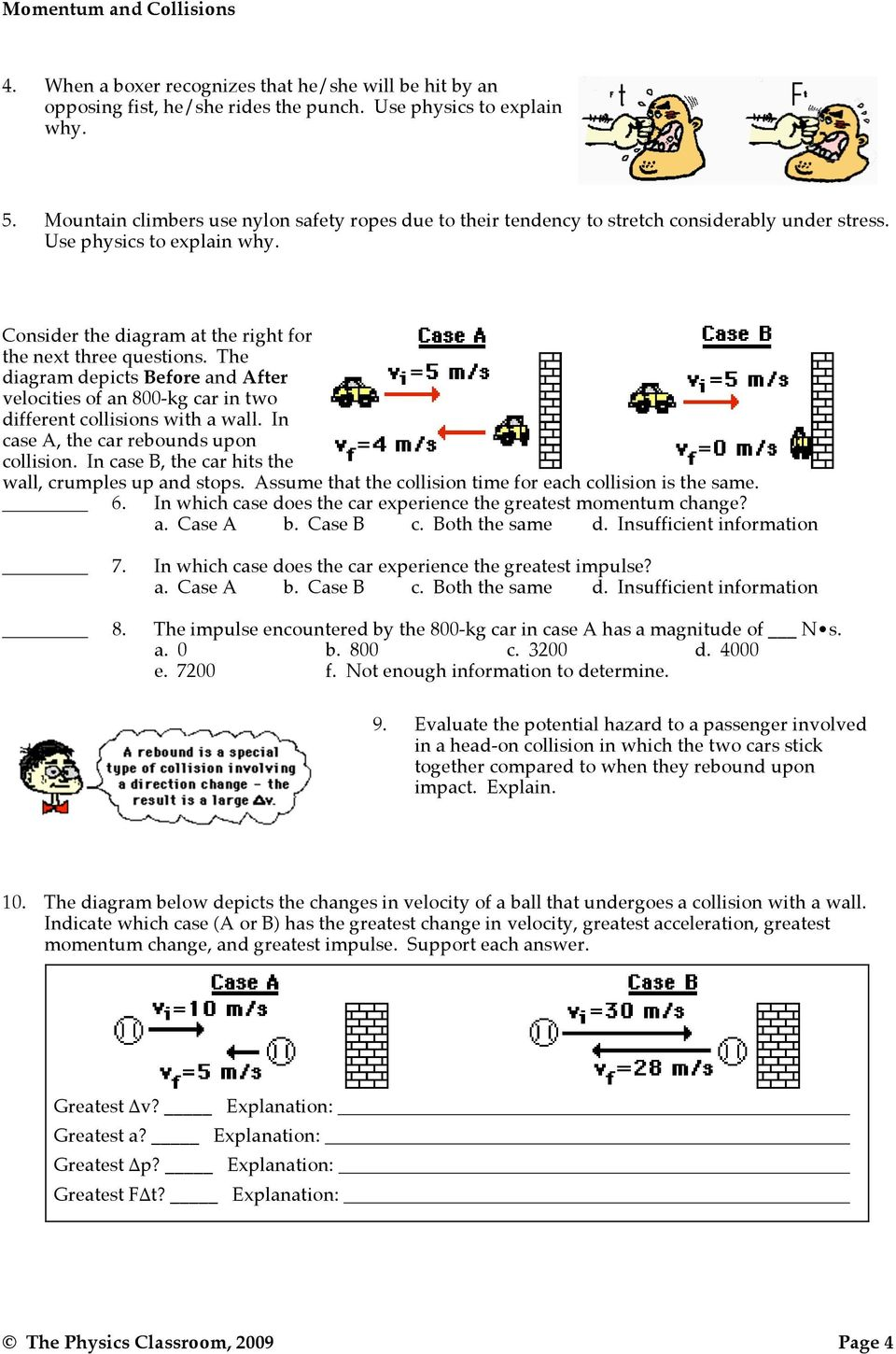 the physics classroom 2009 momentum problem solving answer key