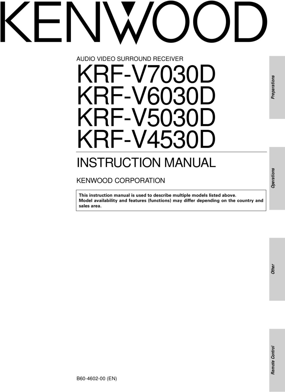 Kenwood Corporation Audio Video Surround Receiver Krf V7030d Stereo Wiring Diagram For Sound Describe Multiple Models Listed Above