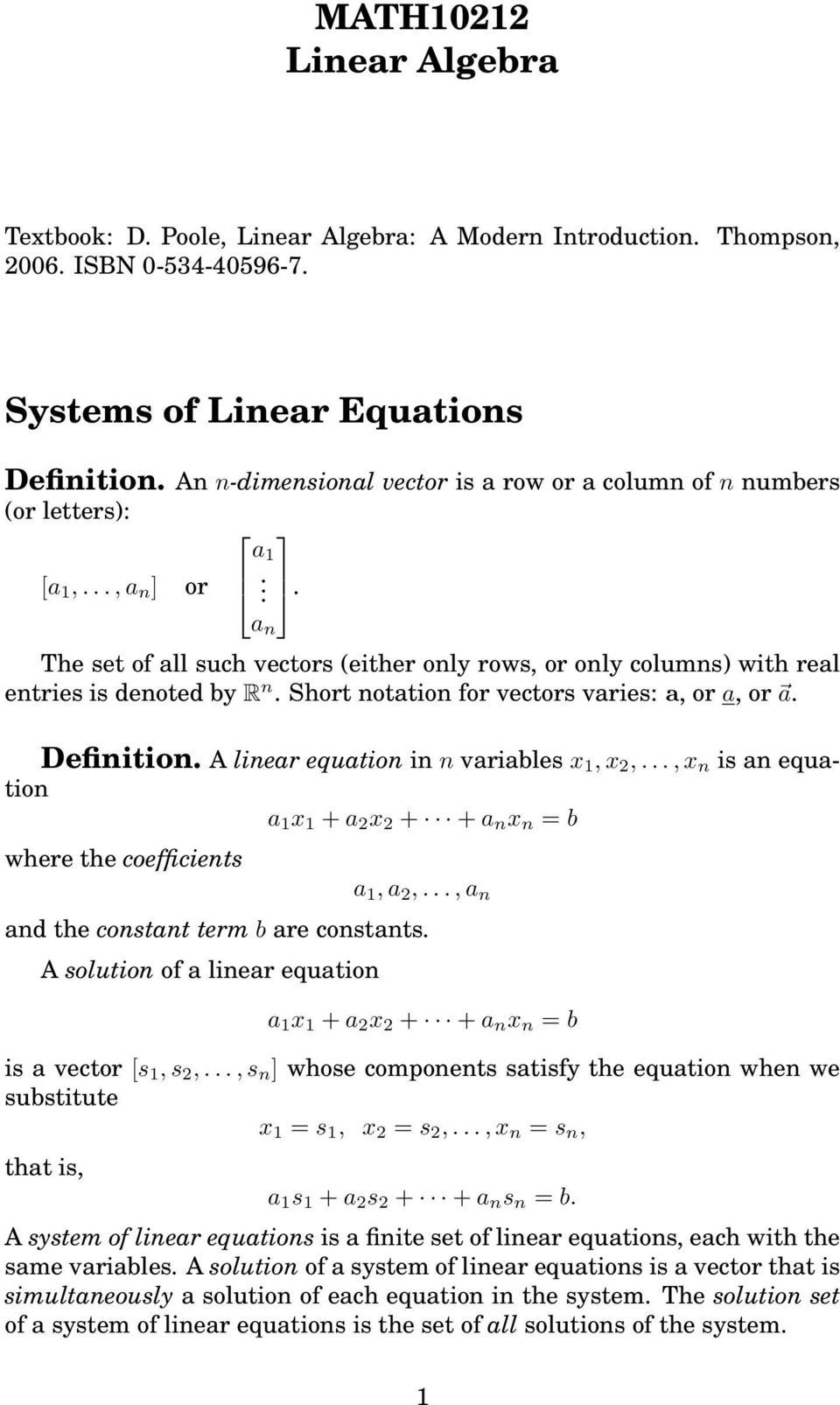 math10212 linear algebra. systems of linear equations. definition