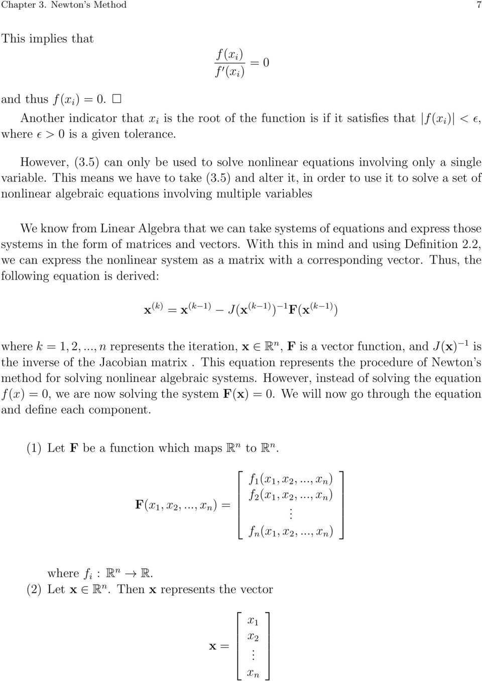 numerical methods for solving systems of nonlinear equations - pdf
