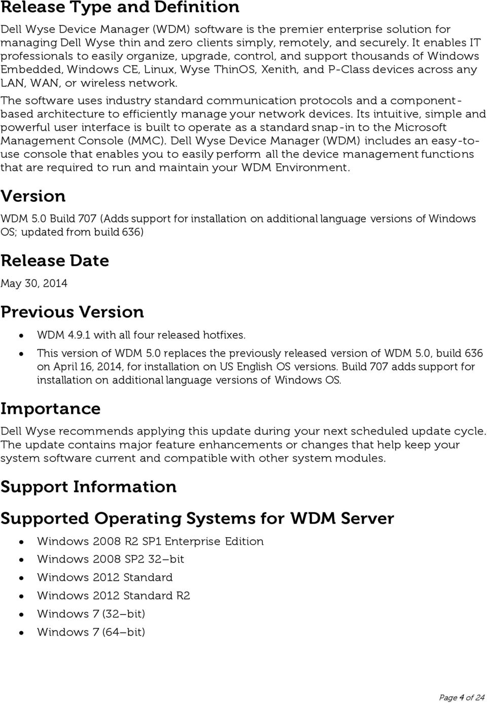 Dell Wyse Device Manager (WDM) Version PDF