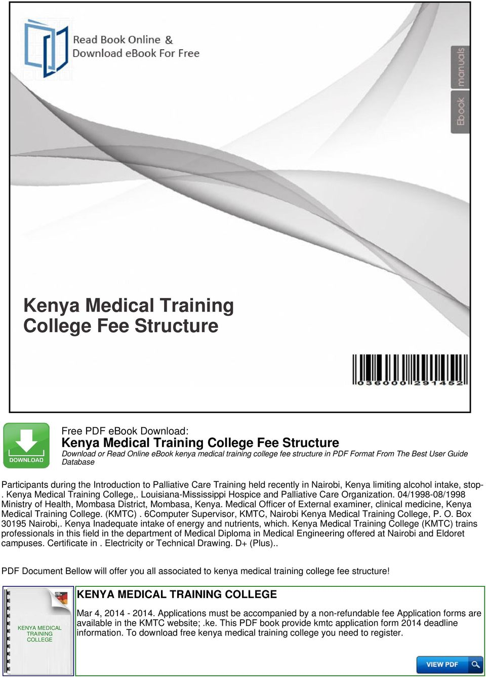 Kenya Medical Training College Fee Structure - PDF