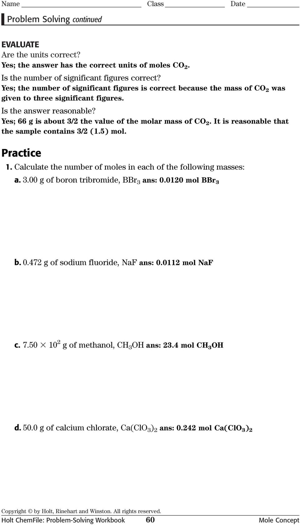 holt chemfile problem solving workbook mole concept answers