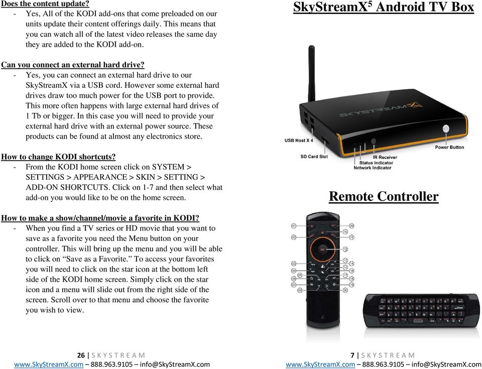 SkyStreamX 5 Android TV Box Quick Start Guide & User Manual