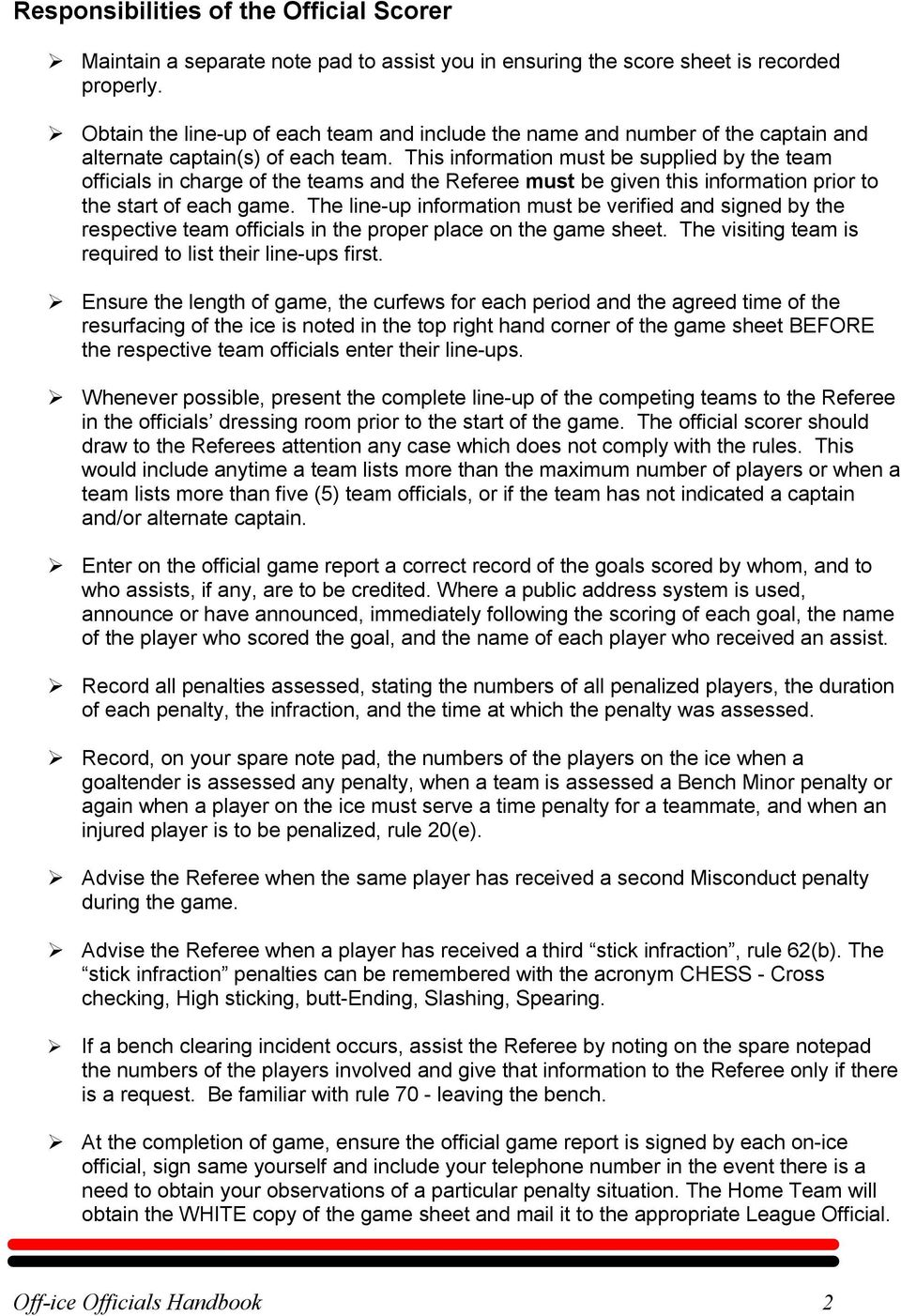 This information must be supplied by the team officials in charge of the teams and the Referee must be given this information prior to the start of each game.