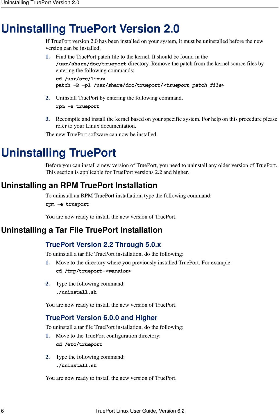 TruePort Linux User Guide Chapter - PDF