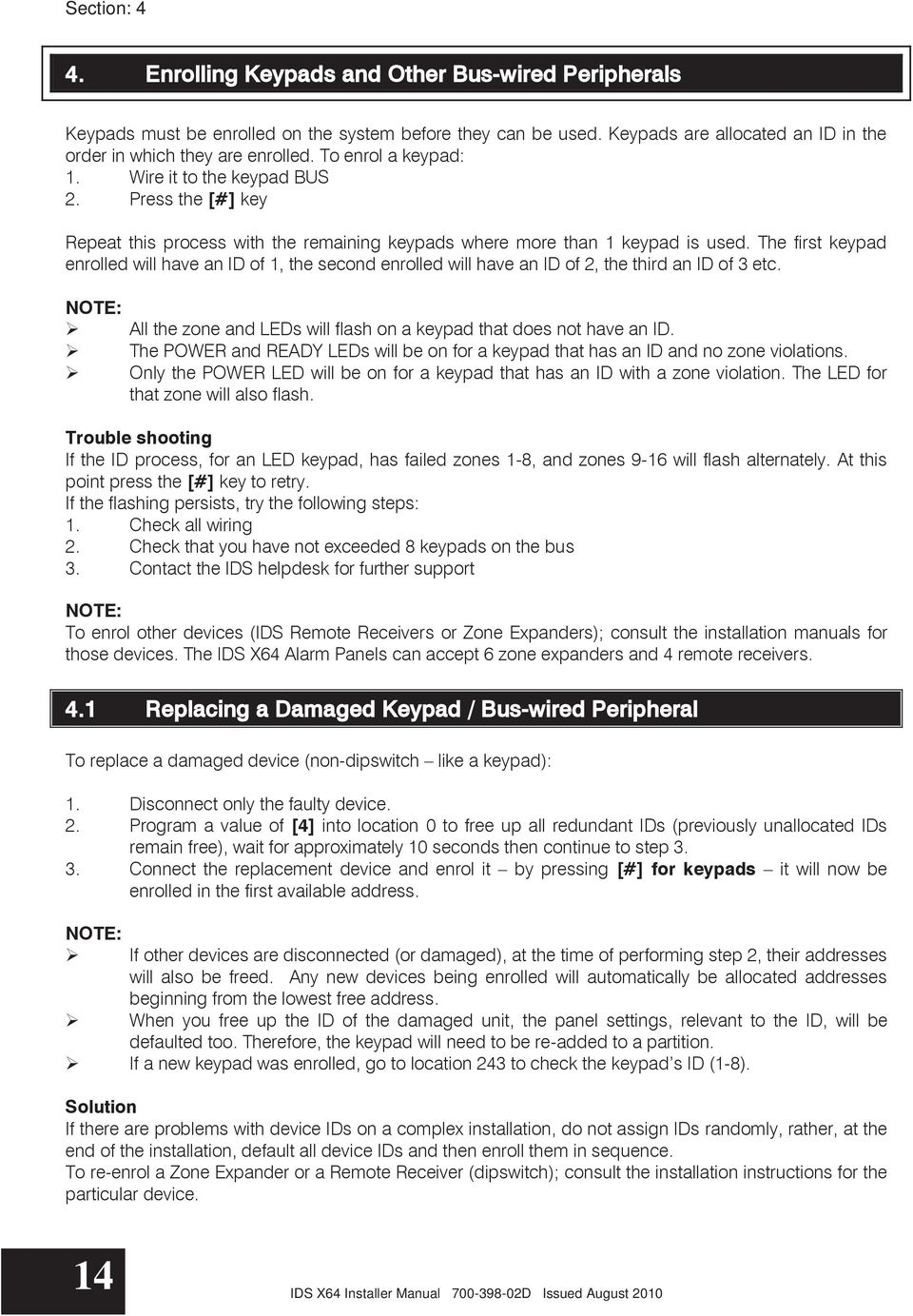Ids X64 Installer Manual D Issued August Pdf Curving Led Wiring Diagram For Use The First Keypad Enrolled Will Have An Id Of 1 Second
