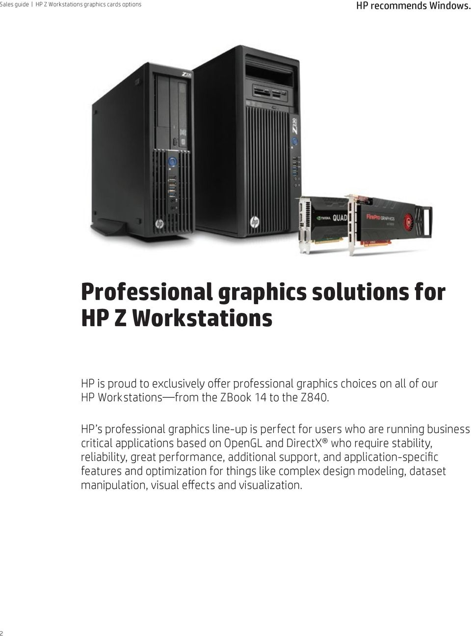 HP Z Workstations graphics card options - PDF