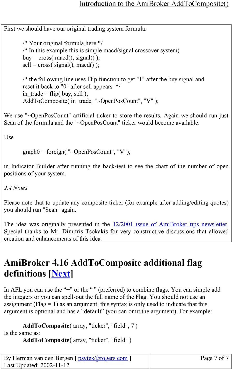 Introduction to the AmiBroker AddToComposite() - PDF