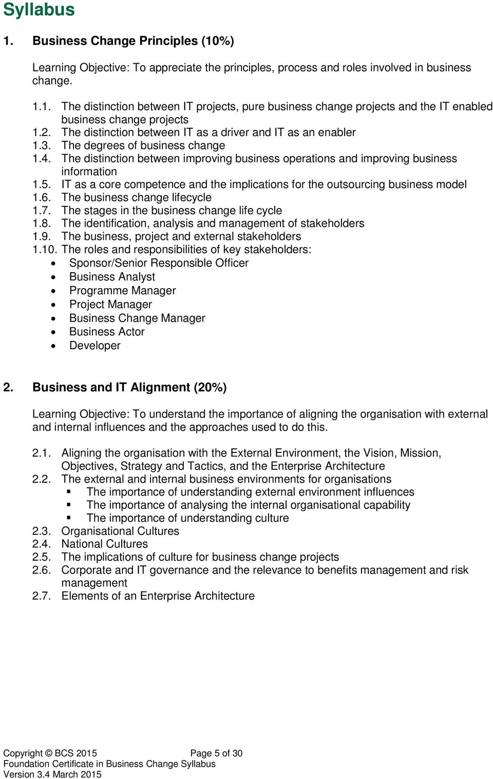 Bcs Foundation Certificate In Business Change Syllabus Pdf