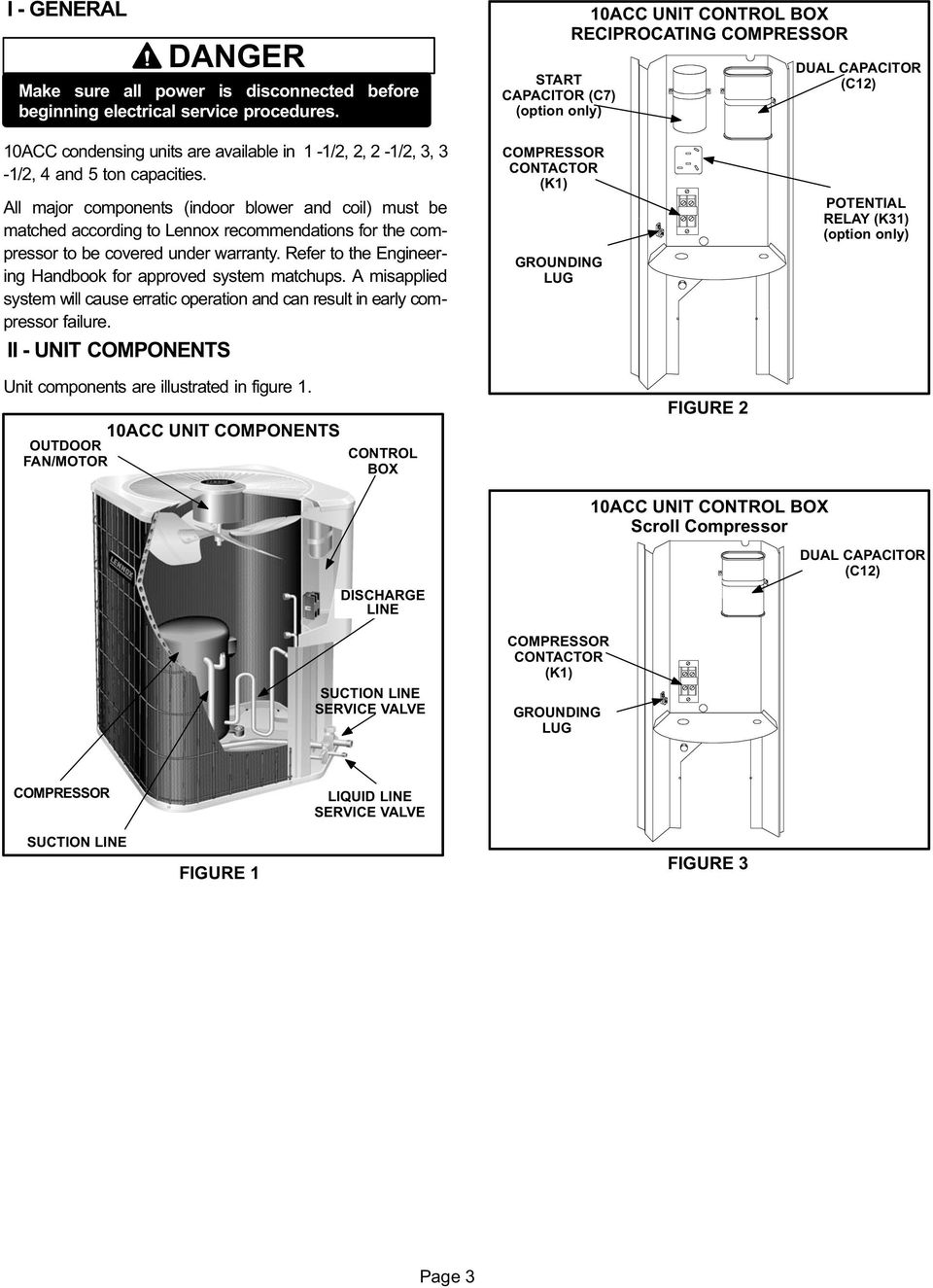 10acc Warning Service Literature Series Units Pdf Lennox Air Conditioner Wiring Diagram Free Download All Major Components Indoor Blower And Coil Must Be Matched According To Recommendations