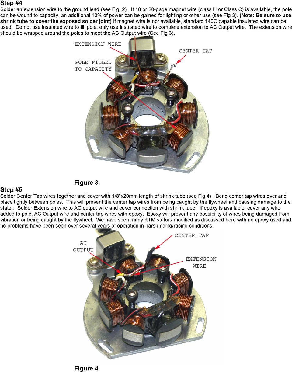 Ktm Ac To Dc Stator Conversion Instructions Floating The Ground Pdf Srt 4 Alternator Wire Diagrams Note Be Sure Use Shrink Tube Cover Exposed Solder Joint