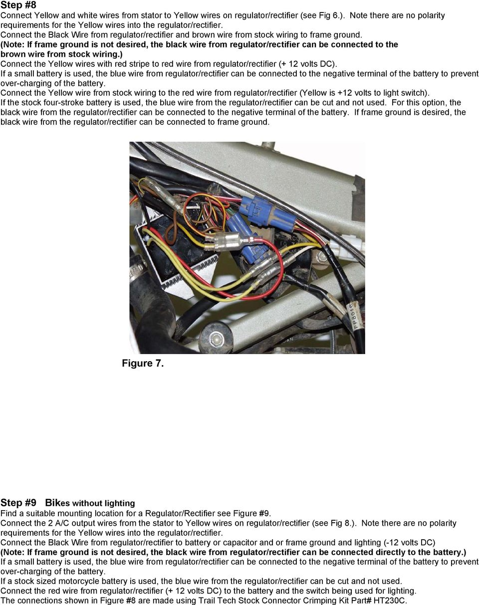 Ktm Ac To Dc Stator Conversion Instructions Floating The Ground Pdf Subaru 360 Wiring Diagram Note If Frame Is Not Desired Black Wire From Regulator