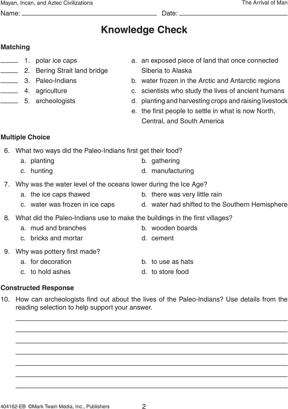 Planting And Harvesting Crops Raising Livestock Multiple Choice 6 What Two Ways Did The