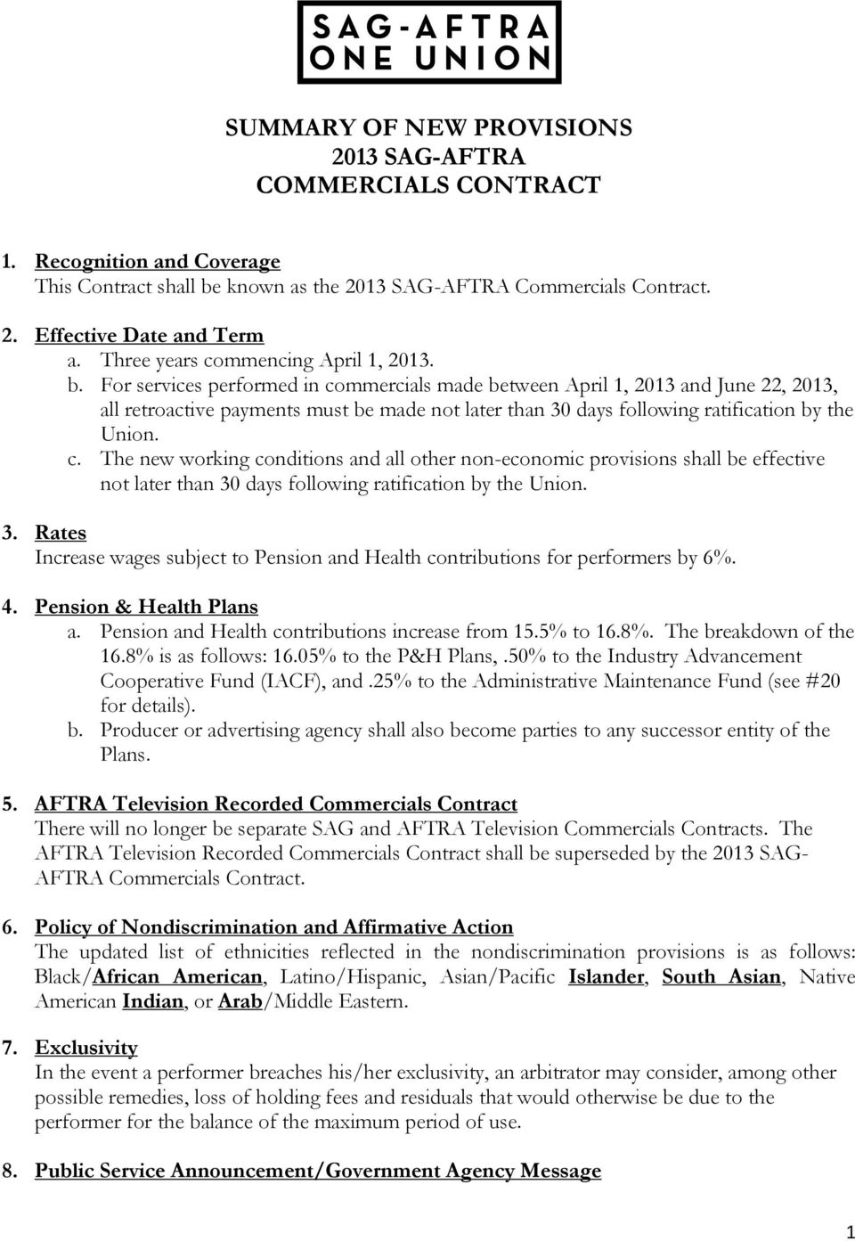 SUMMARY OF NEW PROVISIONS 2013 SAG-AFTRA COMMERCIALS