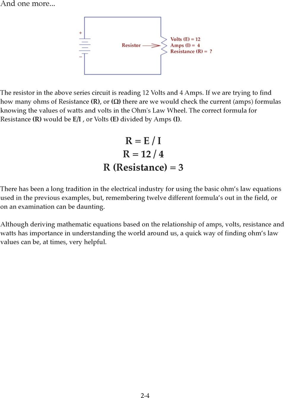 Ohm S Law George Simon Pdf Very Popular Images The Series Circuit Correct Formula For Resistance R Would Be E I Or Volts