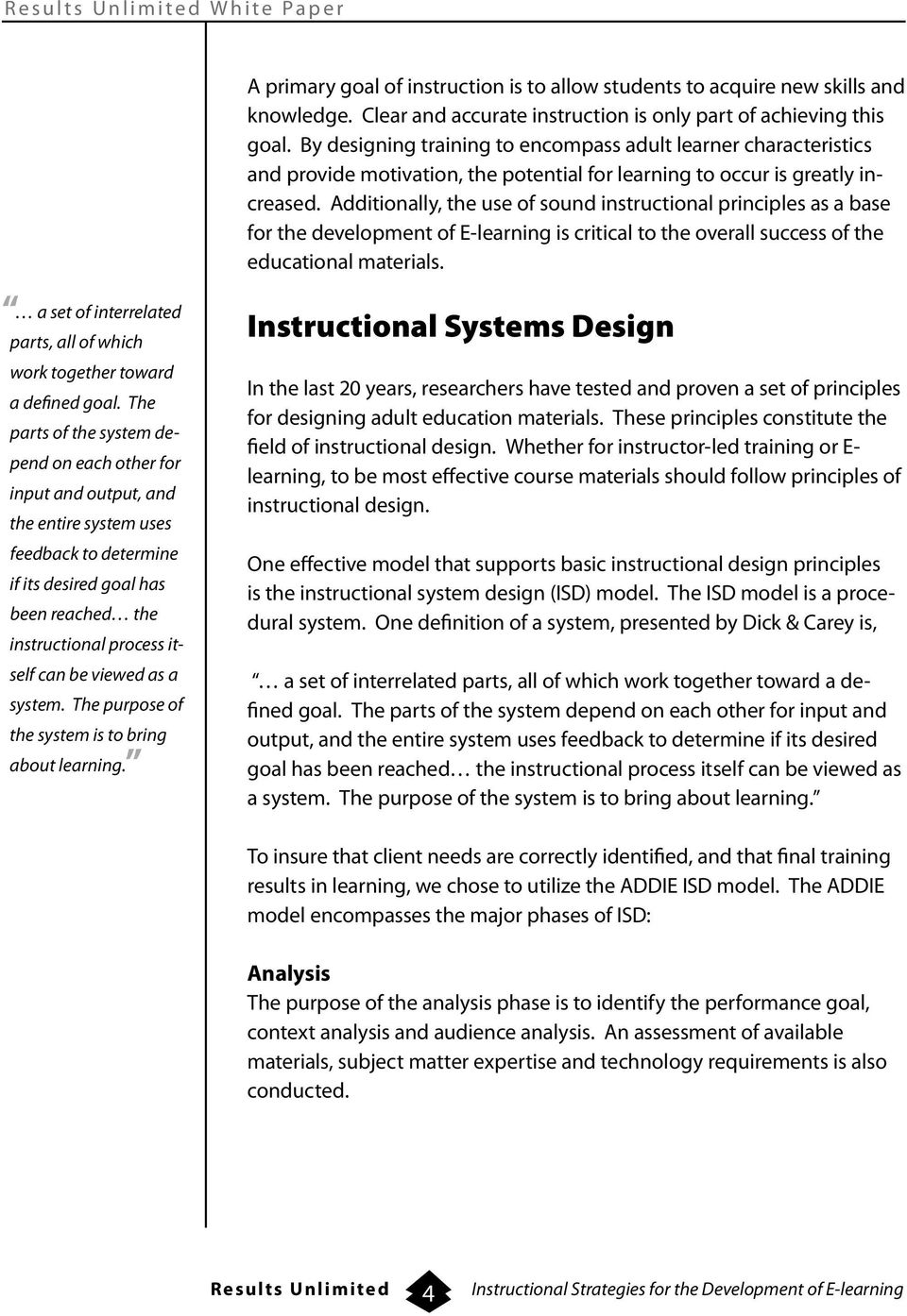 Results Unlimited White Paper Instructional Strategies For The Development Of E Learning Pdf Free Download