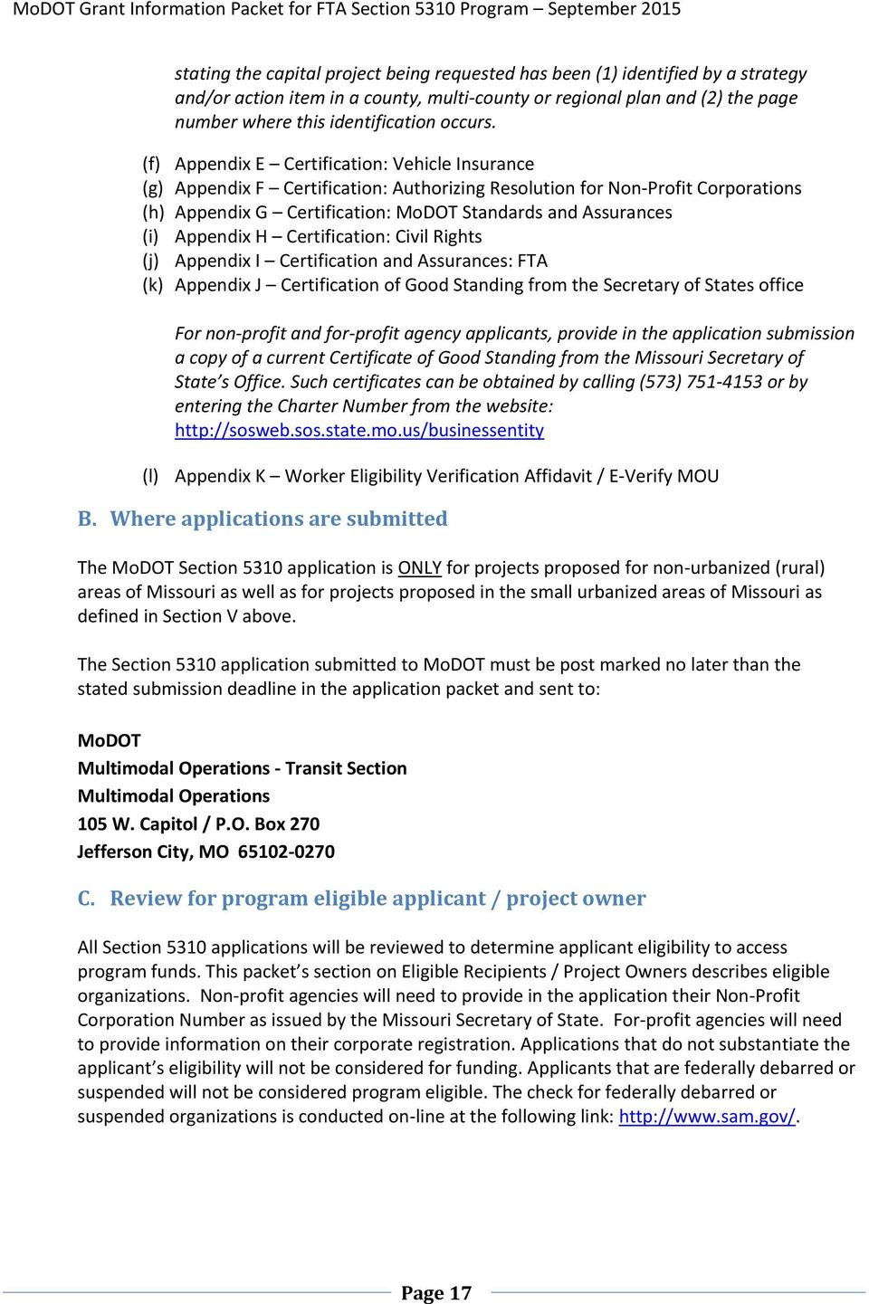 Fta Section 5310 Program Overview Application Guidelines Pdf