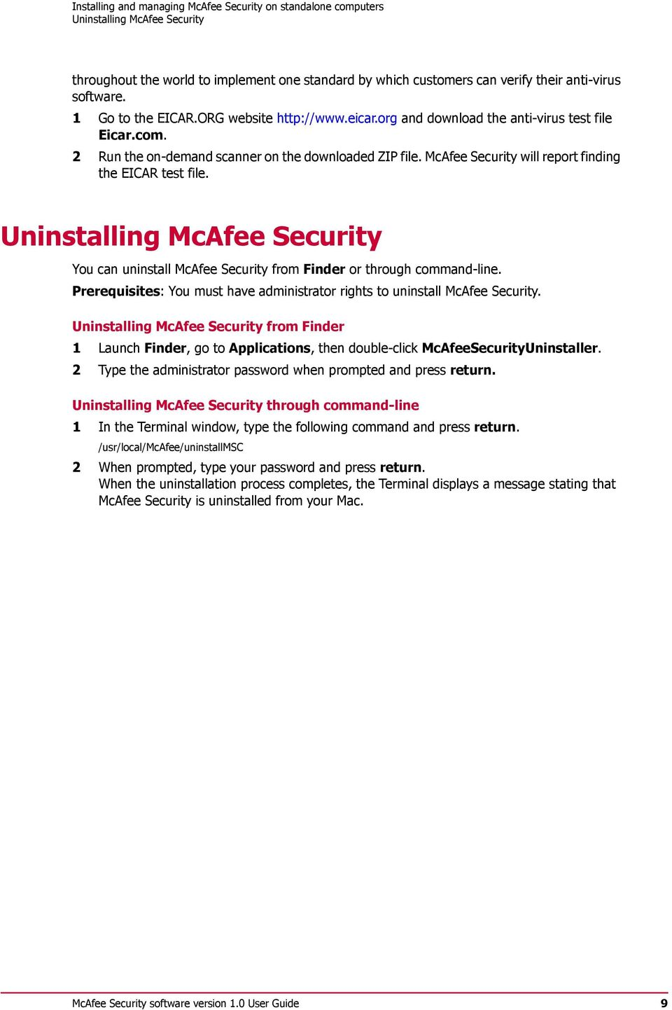 McAfee Security 1 0 User Guide - PDF