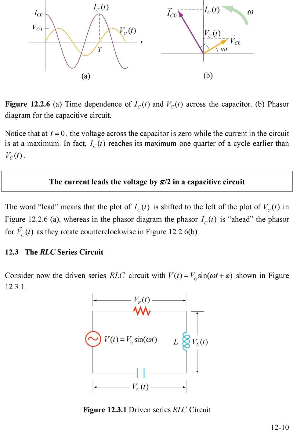 Chapter 12 Driven Rlc Circuits Pdf Ac Circuit Inductance And Capacitance Lcr In Series Fact I T Reaches Its Maximum One Quarter Of A Cycle Earlier