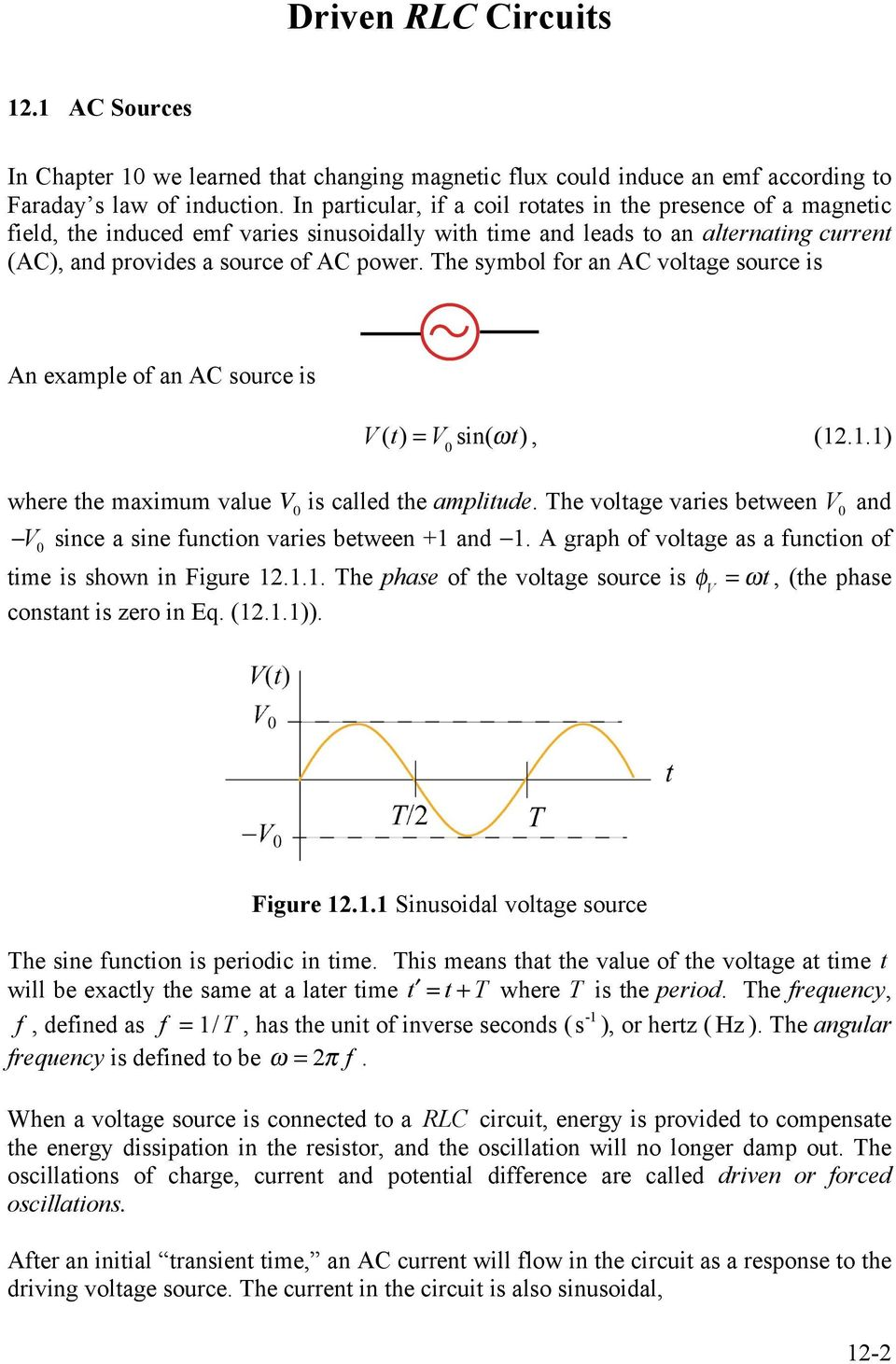 Chapter 12 Driven Rlc Circuits Pdf Currents In Rc And Rl With Increasing Frequency The Symbol For An A Voltage Source Is Example Of V