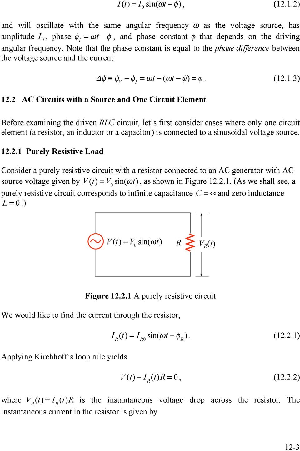 Chapter 12 Driven Rlc Circuits Pdf Ac Circuit Inductance And Capacitance Lcr In Series Note That The Phase Constant Is Equal To Difference Between Voltage Source