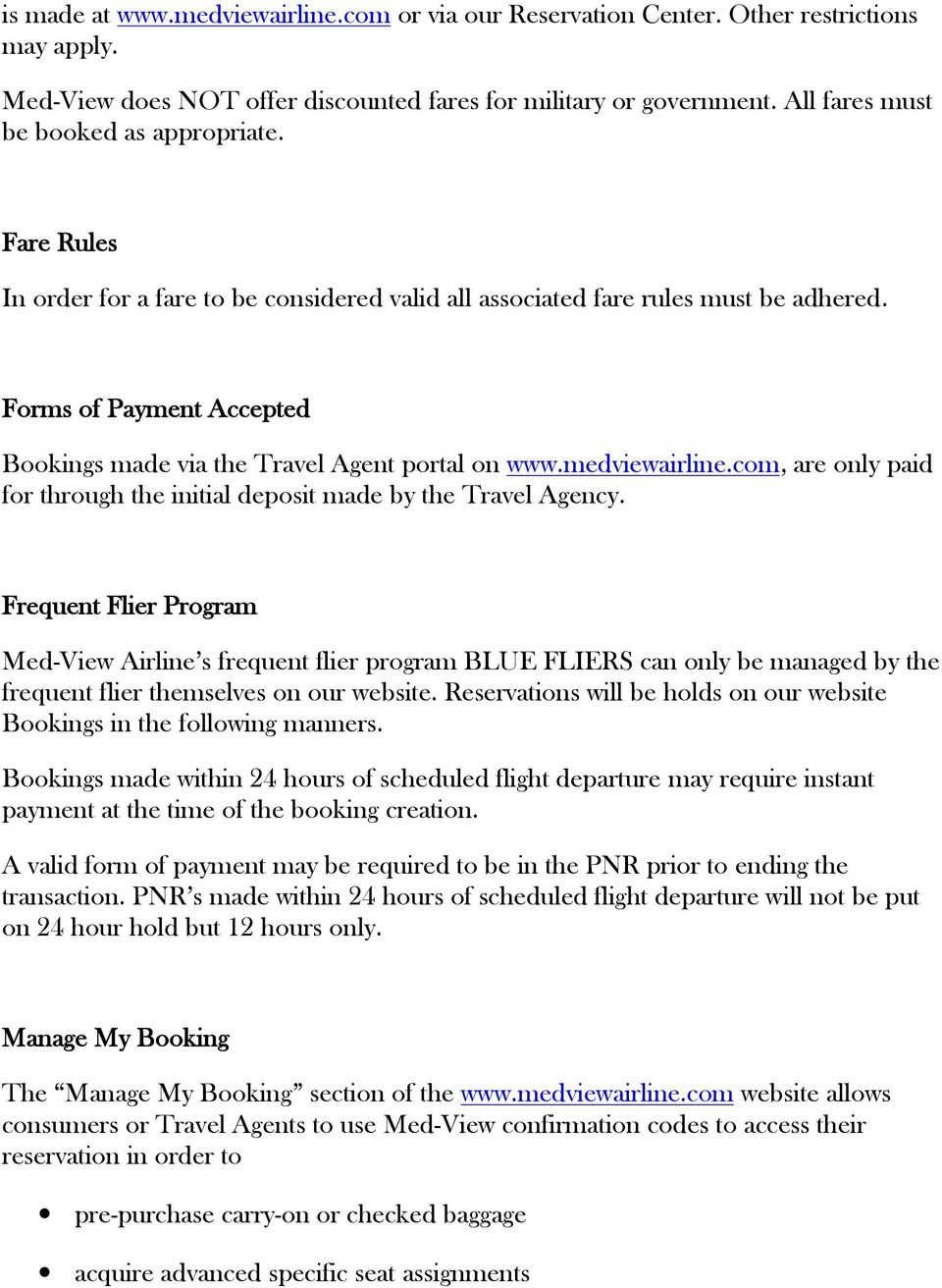 MED-VIEW AIRLINE BOOKING POLICIES AND PROCEDURES FOR TRAVEL