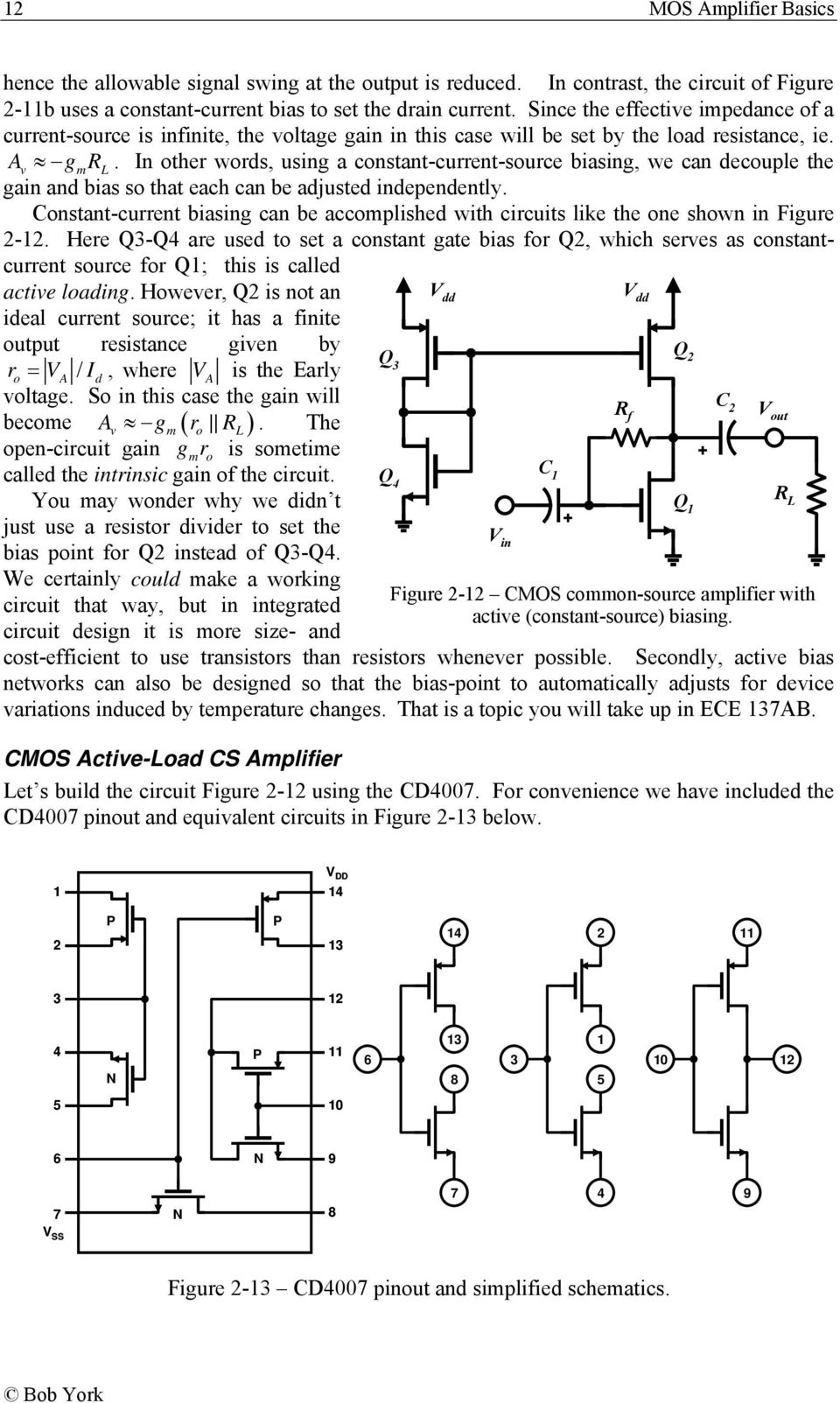 Mos Amplifier Basics Pdf Fig 1 Basic Accoupling Circuit In Other Wors Using A Constant Current Source Biasing We Can Ecouple