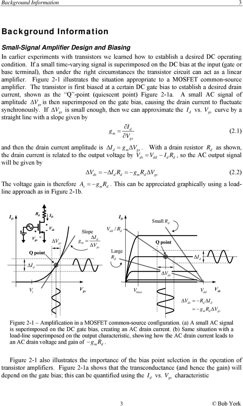 Mos Amplifier Basics Pdf Transistor Amplifiers Figure 1 Illustrates The Situation Appropriate To A Mosfet Coon Source Aplifier