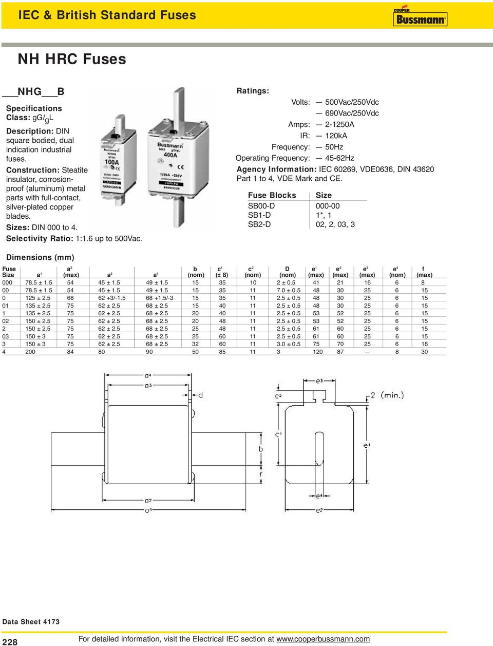 Iec And British Standard Fuses Pdf Fuse With Switch Wiring Diagram Volts 500vac 50vdc 690vac Amps 50a Ir 0ka Frequency