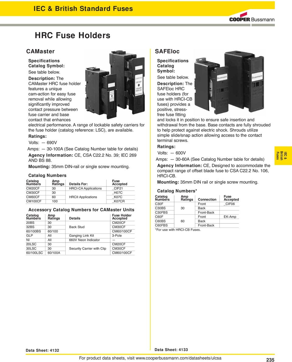 Iec And British Standard Fuses Pdf Electrical Holders Circuit Breakers Din Rail Mounted Performance A Range Of Lockable Safety Carriers For The Fuse Holder Catalog Reference