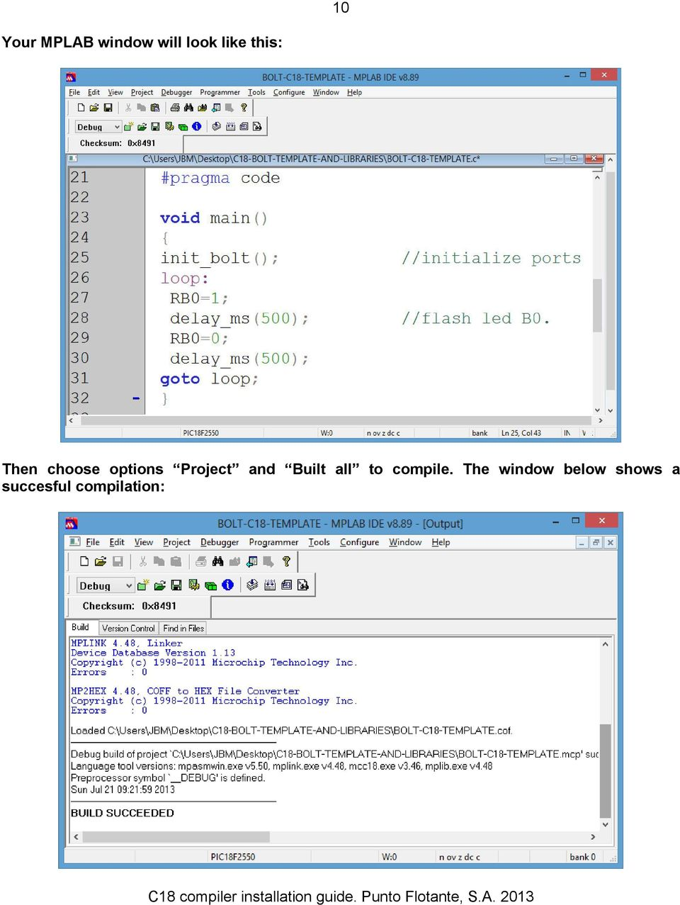 GUIDE FOR THE INSTALLATION OF C18 COMPILER IN MPLAB IDE - PDF
