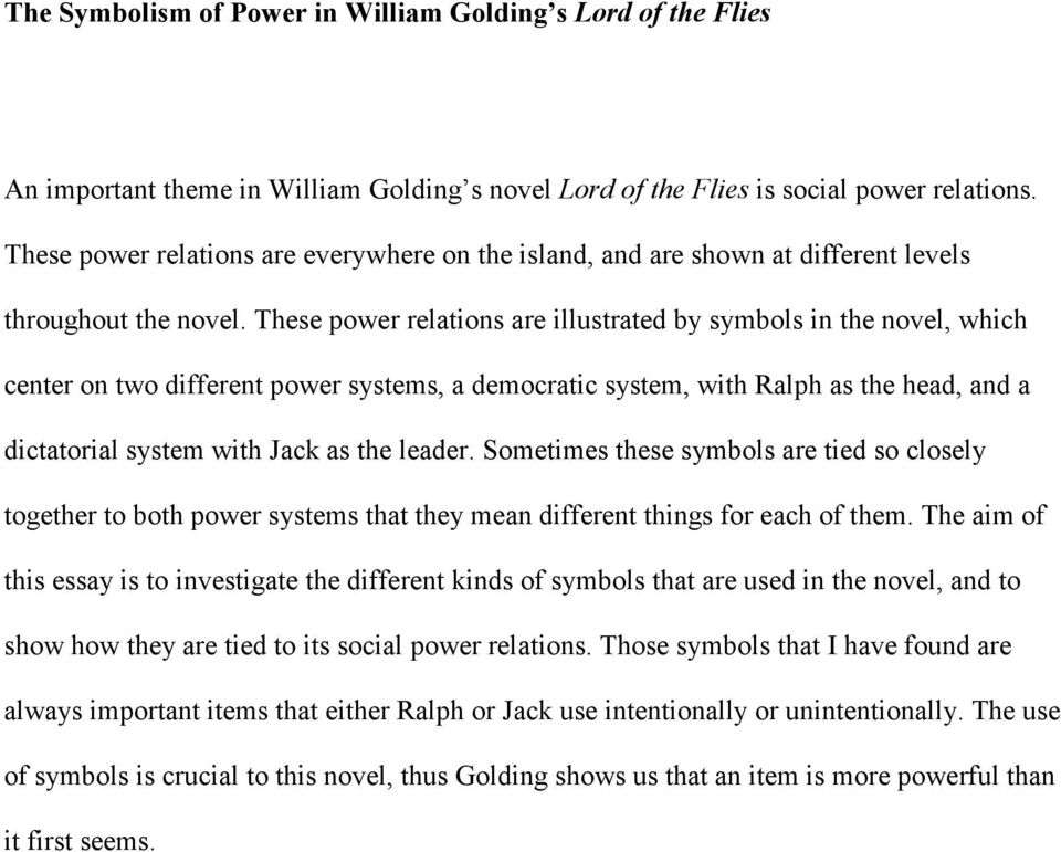 The Symbolism Of Power In William Golding S Lord Of The Flies Pdf