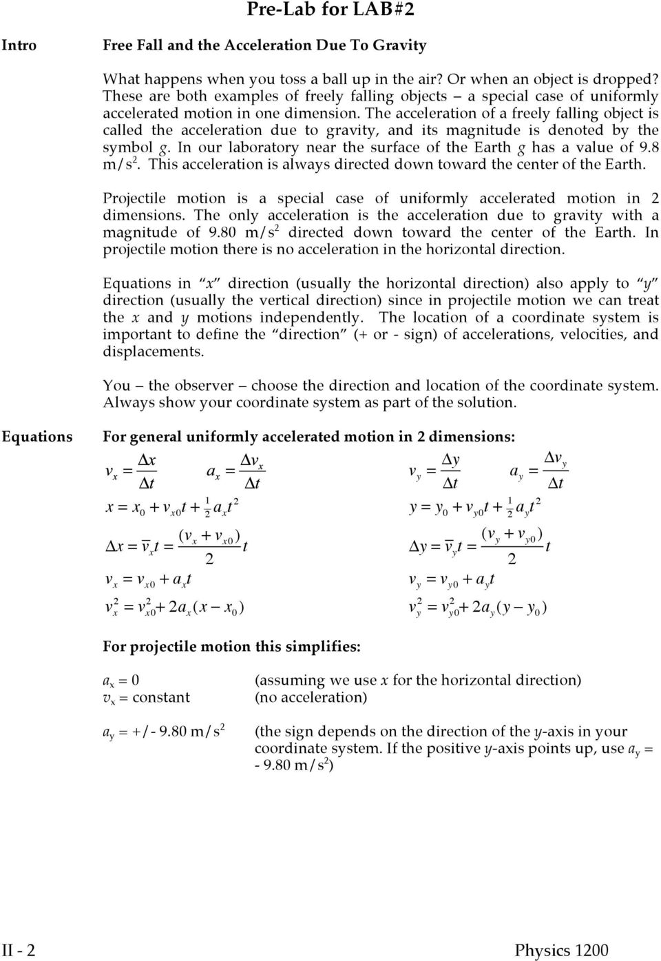 Experiment 2 Free Fall And Projectile Motion Pdf