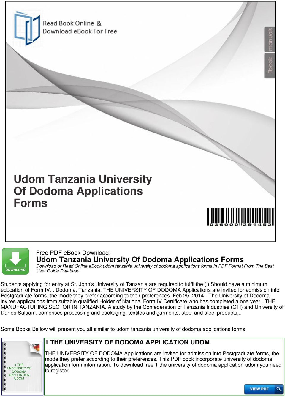 udom tanzania university of dodoma applications forms pdf
