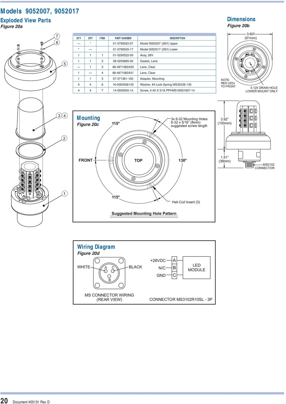 Anti Collision Light Systems Installation And Service Manual May Pdf Led Module Wiring Diagram Pphms Ms5957 4 Note Red Leds To Front 05 Drain Hole Lower Mount Only
