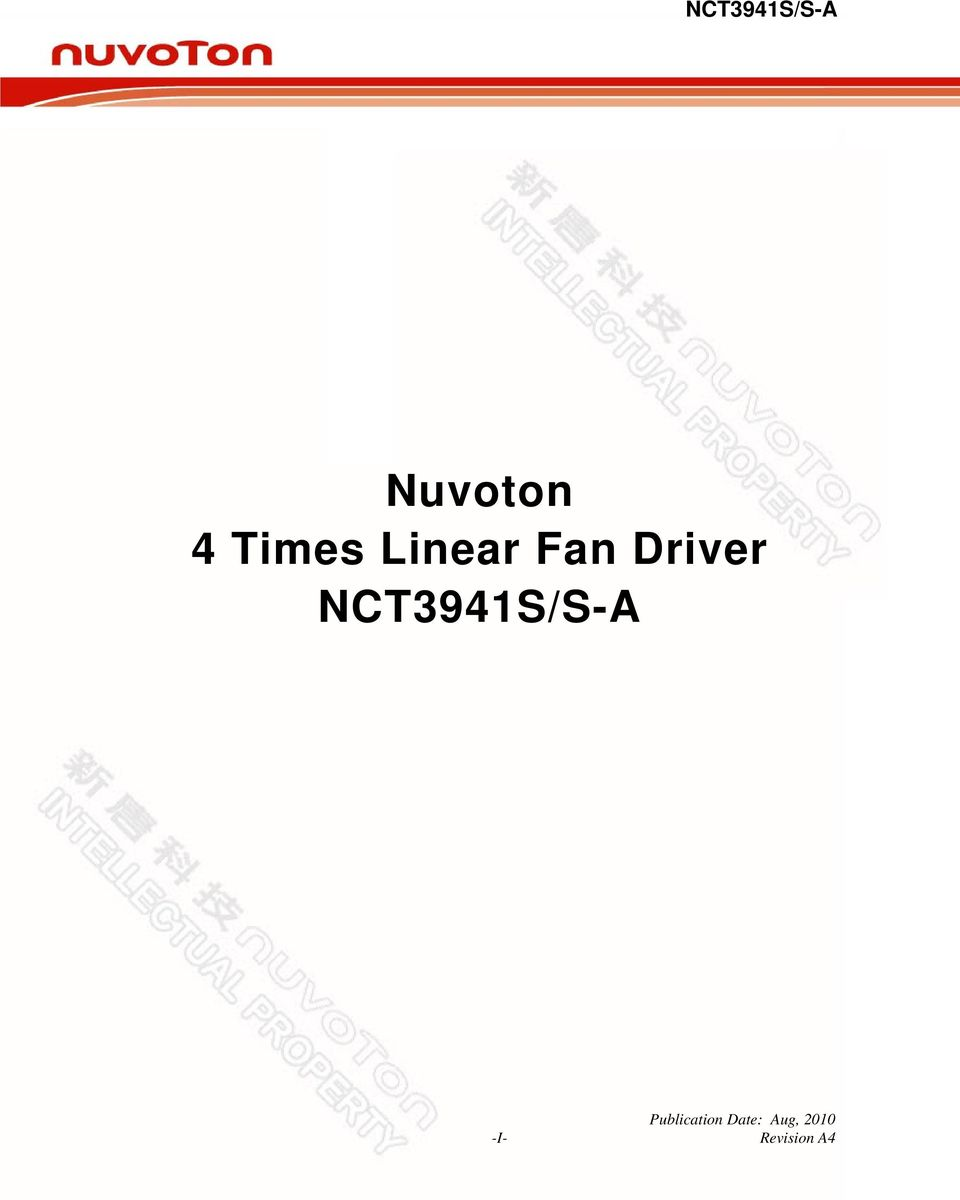 Nct3941s S A Nuvoton 4 Times Linear Fan Driver Pdf Table Circuit 2 Of Content 1 General Description Features Application Block Diagram Pin Configuration And Typical Functional