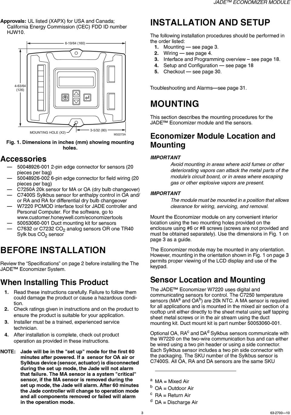 Jade Economizer Module Model W7220 Pdf Honeywell Wiring Diagram 4 Setup And Configuration See Page 8 5 Checkout 0