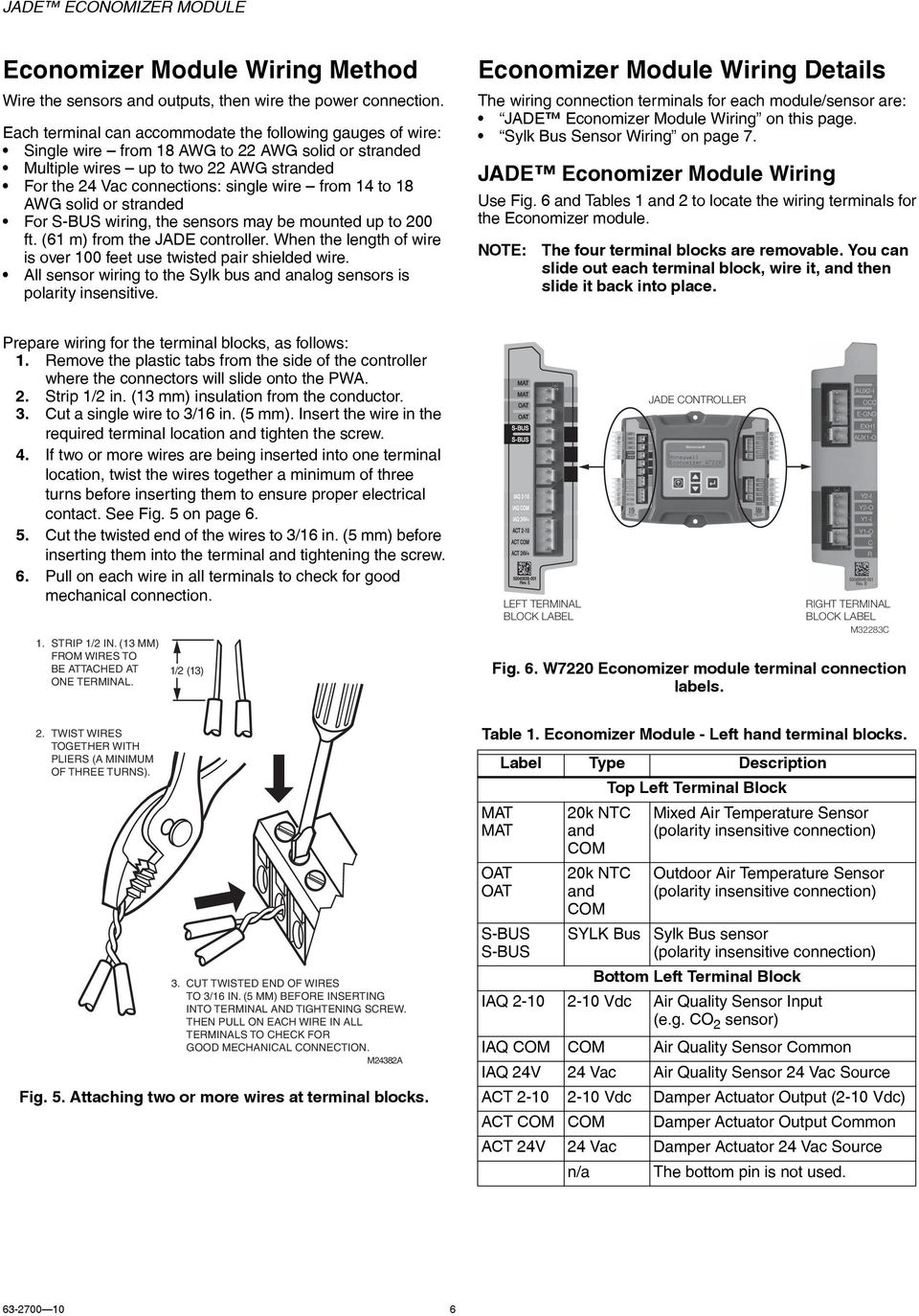 Jade Economizer Module Model W7220 Pdf Honeywell Wiring Diagram Awg Solid Or Stranded For S Bus The Sensors May Be Mounted Up